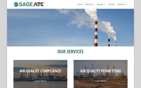 Screenshot of Services Page sageenvironmental.com - Services | SAGE ATC - captured Jan. 18, 2018