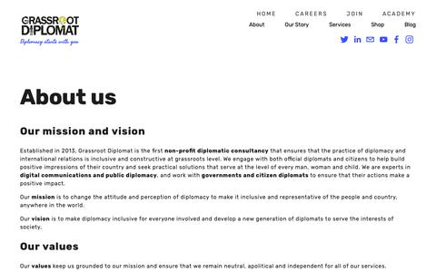 Screenshot of About Page grassrootdiplomat.org - About — Grassroot Diplomat - captured Nov. 5, 2018