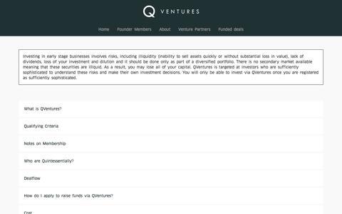Screenshot of FAQ Page qventures.co - FAQ | QVentures - captured Dec. 7, 2015