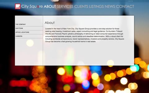Screenshot of About Page citysquaregroup.com - About | City Square - captured Sept. 29, 2014