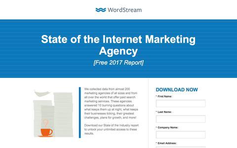 Screenshot of Landing Page wordstream.com - State of the Internet Marketing Agency - captured Sept. 28, 2017