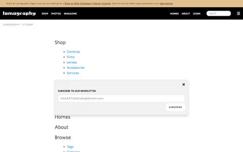 Screenshot of Site Map Page lomography.com - Lomography - captured Aug. 21, 2016