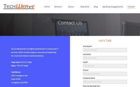 Screenshot of Contact Page techwerxe.com - Managed IT Services Company in NJ | Cybersecurity & Cloud Hosting - captured Nov. 4, 2018