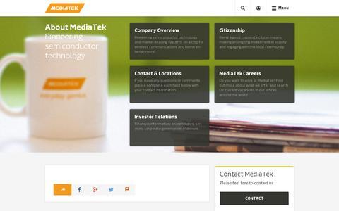 Screenshot of About Page mediatek.com - About MediaTek - MediaTek - captured July 18, 2014