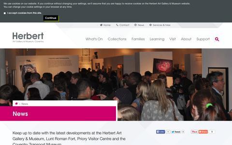 Screenshot of Press Page theherbert.org - News | the Herbert Art Gallery & Museum - captured Oct. 1, 2014
