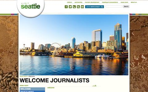 Screenshot of Press Page visitseattle.org - Seattle: Welcome - captured Sept. 19, 2014