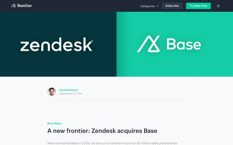 Screenshot of Support Page getbase.com - A new frontier: Zendesk acquires Base | Base CRM Blog - captured Oct. 9, 2018