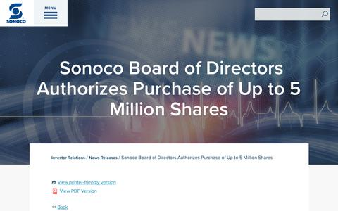 Screenshot of Press Page sonoco.com - Sonoco Board of Directors Authorizes Purchase of Up to 5 Million Shares | Sonoco - captured Nov. 5, 2019