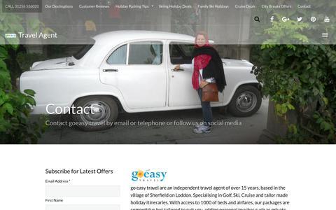 Screenshot of Contact Page goeasy-travel.com - goeasy travel Contact details golf ski cruise honeymoons deals - captured Nov. 5, 2018