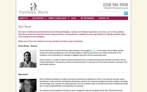 Screenshot of Team Page familieswork.co.uk - Our teamFamilies Work - captured Jan. 8, 2016