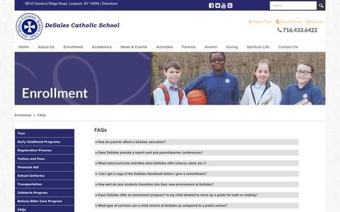 Screenshot of FAQ Page desalescatholicschool.org - DeSales Catholic School > Enrollment > FAQs - captured Jan. 7, 2016