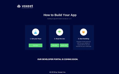 Screenshot of Support Page Developers Page voxeet.com - voxeet - captured May 3, 2018