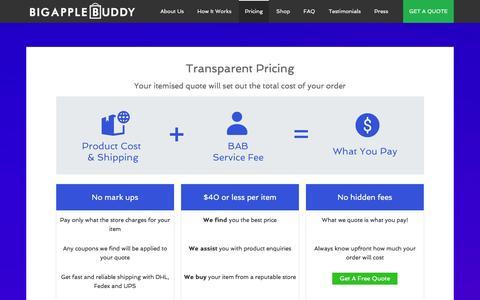 Screenshot of Pricing Page bigapplebuddy.com - Pricing | Big Apple Buddy - captured Jan. 3, 2016