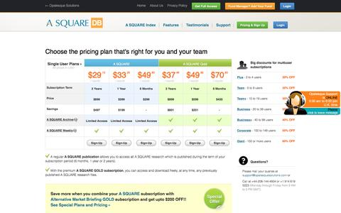 Screenshot of Pricing Page alternative-alternatives.info - Pricing Plans - Alternative Alternatives Database - captured May 25, 2016