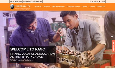 Screenshot of Home Page ragc.in - Best Vocational Education & Training Courses Institute in India | RAGC - captured Nov. 17, 2018