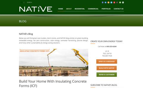 Screenshot of Blog buildnative.com - Build Native  Blog| Sustainability & Energy-Saving Solutions - captured Oct. 26, 2014