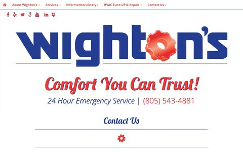 Screenshot of Contact Page Hours Page wightons.com - - Wighton's - captured Dec. 2, 2016
