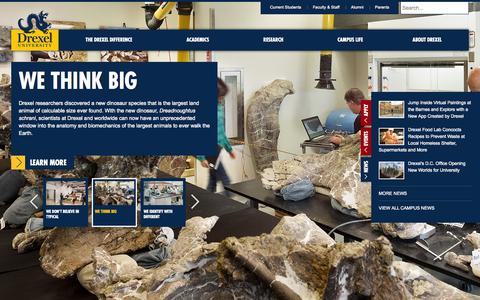 Screenshot of Home Page drexel.edu - Home | Drexel University - captured Sept. 18, 2014