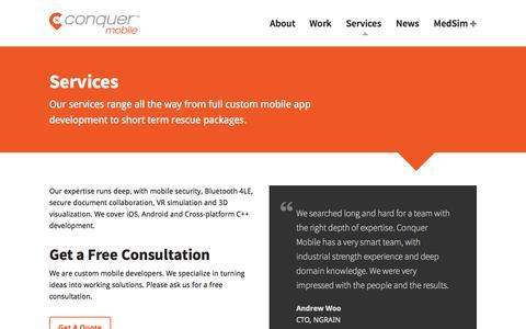 Screenshot of Services Page conquermobile.com - Services - Conquer Mobile - captured Nov. 2, 2014