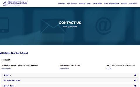 Screenshot of Contact Page irctc.com - || IRCTC Corporate Portal || - captured Aug. 21, 2019