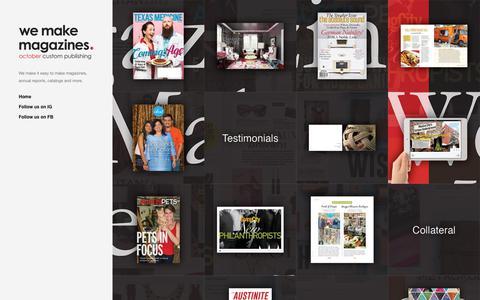 Screenshot of Home Page octobercustompublishing.com - October Custom Publishing - Portfolio - captured Sept. 21, 2018