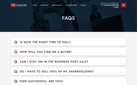 Screenshot of FAQ Page kbscorporate.com - FAQS - KBS - captured Feb. 5, 2020