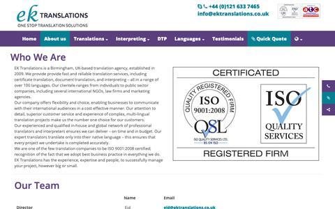 Screenshot of About Page ektranslations.co.uk - Who We Are - EK Translations - captured Sept. 25, 2018
