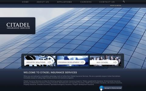 Screenshot of Home Page citadelus.com - Citadel Insurance Services | Business Insurance Programs - captured Oct. 2, 2014