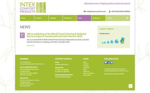 Screenshot of Press Page intexcomfort.com - News | Intex Comfort | Manufacturers of high quality comfort products - captured Oct. 12, 2018