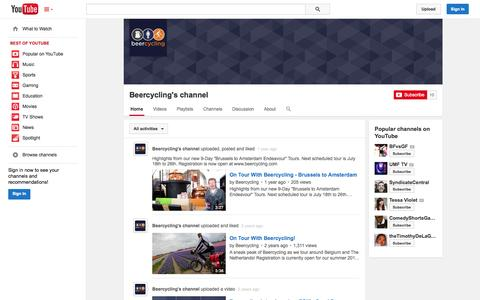 Screenshot of YouTube Page youtube.com - Beercycling's channel  - YouTube - captured Oct. 22, 2014