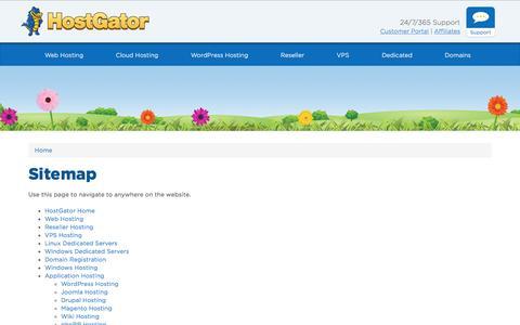 Screenshot of Site Map Page hostgator.com - Sitemap - HostGator - captured June 20, 2016