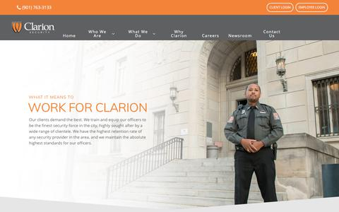 Screenshot of Jobs Page clarionsecurity.com - Careers - Work at Clarion Security - captured April 2, 2018