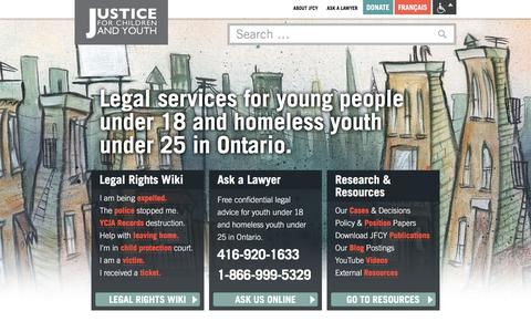 Screenshot of Home Page jfcy.org - Justice for Children and Youth |  JFCY – protecting the legal rights and dignity of children and youth. - captured March 10, 2016