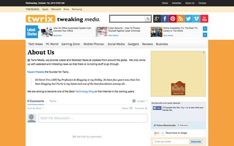 Screenshot of About Page twrix.com - About Us - Twrix.com - captured Oct. 1, 2014