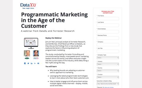 Screenshot of Landing Page dataxu.com - On Demand Webinar Programmatic Marketing Age of Customer - captured Sept. 27, 2016