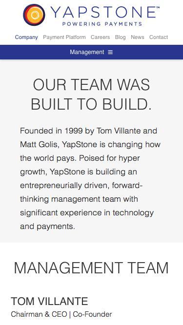 Screenshot of Team Page  yapstone.com - Management Team