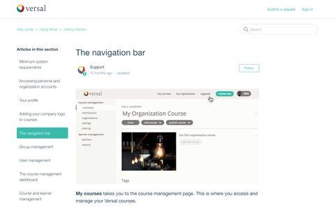 Screenshot of Support Page versal.com - The navigation bar – Help center - captured Dec. 3, 2019