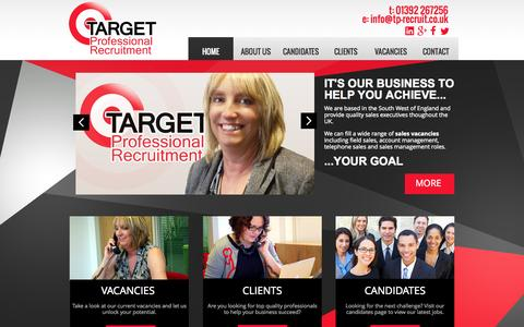 Screenshot of Home Page tp-recruit.co.uk - Sales Jobs Devon - Target Professional Recruitment - captured Sept. 5, 2015