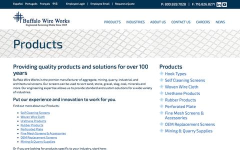 Screenshot of Products Page buffalowire.com - Buffalo Wire Works - captured Nov. 23, 2016