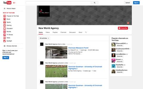 Screenshot of YouTube Page youtube.com - New World Agency  - YouTube - captured Oct. 29, 2014