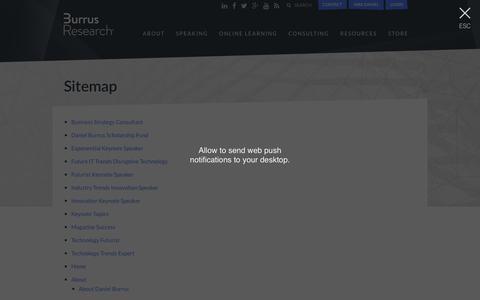 Screenshot of Site Map Page burrus.com - Sitemap - Daniel Burrus - captured Oct. 11, 2017
