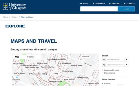 Screenshot of Maps & Directions Page gla.ac.uk - University of Glasgow - Explore - Maps and travel - captured Sept. 12, 2018