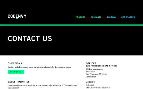 Screenshot of Contact Page codenvy.com - Codenvy | Contact Us - captured March 18, 2017