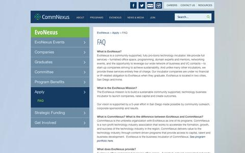 Screenshot of FAQ Page commnexus.org - EvoNexus: FAQ | CommNexus - captured Sept. 19, 2014