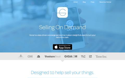 Screenshot of Home Page thegoneapp.com - Gone! | Selling On Demand - captured Sept. 7, 2015