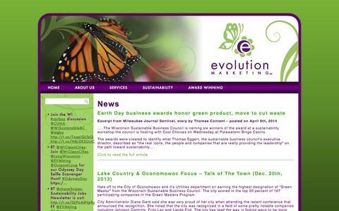Screenshot of Press Page evmkting.com - News | Evolution Marketing - captured Oct. 3, 2014