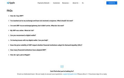 Screenshot of FAQ Page ripplelabs.com - FAQ | Ripple - captured Oct. 24, 2019