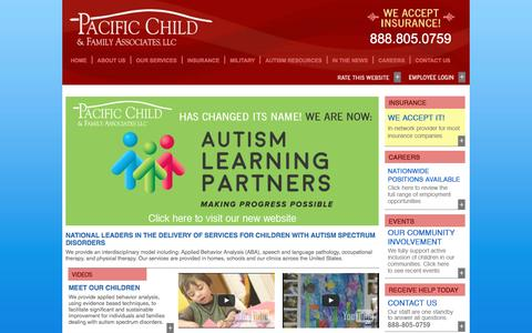 Screenshot of Home Page pacificchild.com - Pacific Child & Family Associates - captured Oct. 16, 2016