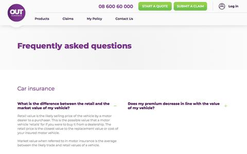 Screenshot of FAQ Page outsurance.co.za - Frequently asked questions - captured Oct. 3, 2019