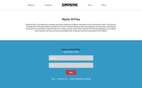 Screenshot of Login Page mysticboarding.com - Mfiles || MYSTIC | FALL WINTER 2014-2015 - captured Oct. 31, 2014